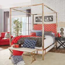 Gold Canopy Bed Solivita Chagne Gold Size Metal Canopy Bed By Inspire Q