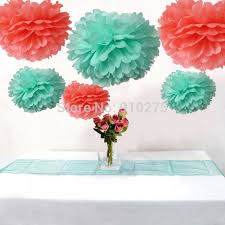 mint green tissue paper 12pcs mixed coral mint green tissue paper pom poms flowers wedding