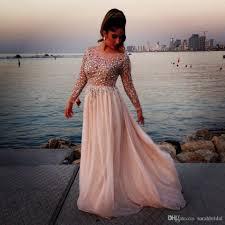 prom dresses 2017 elie saab sparking crystal beading sheer modest