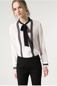blouse with tie neck white pleated silk blouse with black tie s tops dress album