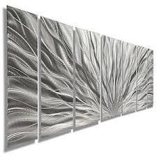 silver modern abstract metal wall art sculpture home decor jon