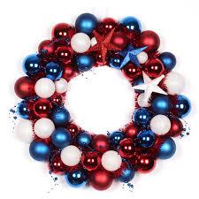 45 cm chrsitmas ball wreath plastic ball wreath usa flag color