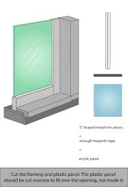 interior windows for sound control with magnetic tape strips