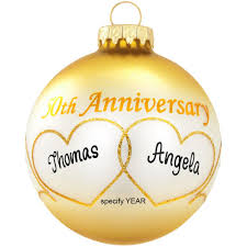 anniversary ornament personalized 50th anniversary heart swirls glass ornament