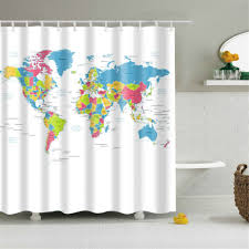 Paris Fabric Shower Curtain by Homee World Map Fabric Stall Shower Curtain Water Repellent Peva