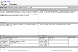 Six Sigma Project Charter Template Excel Sigma Magic Software Free Lean Six Sigma Software Excel