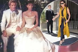beckham wedding dress remember beckham s shock wedding dress satin gown is far
