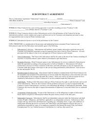 sample subcontractor agreement best resumes