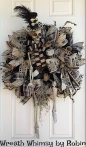Halloween Skeleton Craft by Xl Halloween Skeleton Deco Mesh Wreath In Tan U0026 Black Front Door