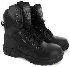 mens military safety police army steel toe cap side zip combat