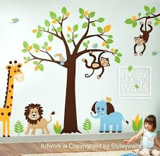 Safari Nursery Wall Decals Jungle Animal Wall Decals Jungle Tree Wall Decal Jungle Animals