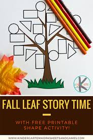kindergarten worksheets and games fall leaf story time with color