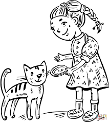 feeding her cat coloring page free printable coloring pages