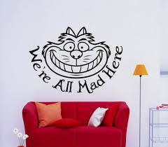 online get cheap cheshire cat wall sticker aliexpress com cheshire cat smile quote wall art stickers wall decal home diy decoration removable room decor wall