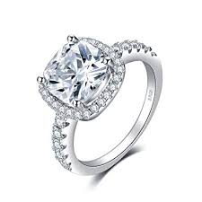 5 engagement ring jewelrypalace cushion 3ct cubic zirconia wedding halo