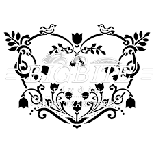 shabby chic stencil floral heart decorative 064 shabby chic