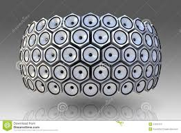 modern speakers many modern speakers on circle wall stock photos image 24231613