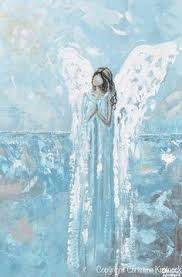 blue and white painting giclee print art abstract angel oil painting acrylic painting home
