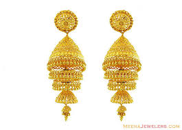 s gold earrings 22k gold jhumkas 22k gold layered jhumka earrings 22kt gold