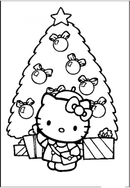 kitty simple christmas tree coloring pages