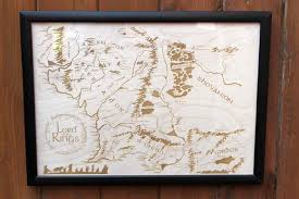 Map Middle Earth Wooden Middle Earth Map U2013 Engraved Into Wood Lord Of The Rings