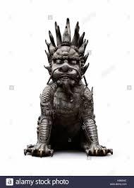 foo lion statue guardian lion bronze statue foo dog gate keeper isolated