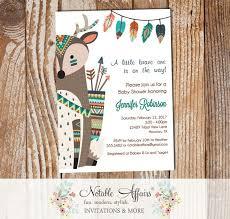 woodland baby shower invitations brave one tribal woodland indian deer on the side baby shower