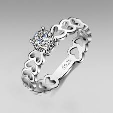 design rings images Hollow heart design 925 sterling silver round cut cubic zirconia jpg