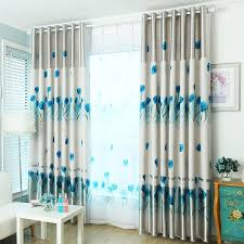 Blue And Beige Curtains Durable Polyester Fabric In Gray Color Blue Tulip Floral Pattern