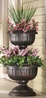 tiered antique finish plastic urn planter