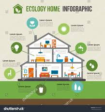 ecofriendly home infographic ecology green house stock vector