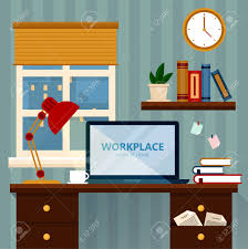 home workspace vector illustration modern home office in flat