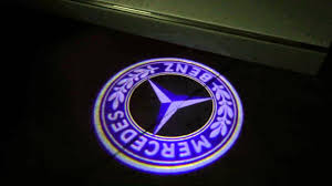 mercedes benz classic blue 3d led logo doorstep lights plug