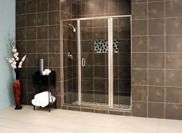 bathroom black daltile wall with rain shower and frameless shower