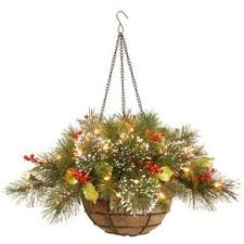 christmas hanging baskets with lights shop for 20 inch wintry pine hanging basket with 35 warm white led