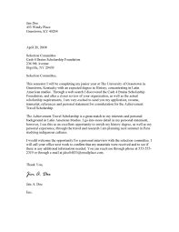 sample cover letter for scholarship sample business thank you
