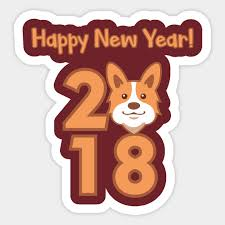 new year sticker corgi happy new year 2018 design for dog happy new