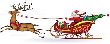 santa and reindeer santa claus rides in a sleigh in harness on the reindeer stock