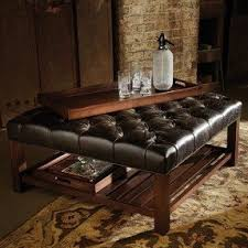 Square Brown Leather Ottoman Leather Tufted Ottoman Coffee Table Foter