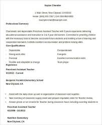 Sample Resume For Early Childhood Assistant by Teacher Resume Sample 28 Free Word Pdf Documents Download