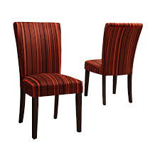 Striped Dining Room Chairs by Homelegance Royal Red Striped Design Fabric Parson Chairs Brown