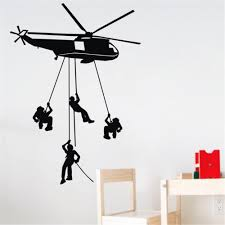 free shipping helicopter wall stickers kids boys bedroom army