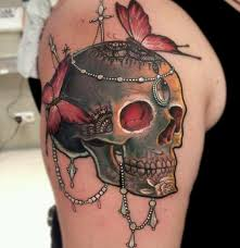 awesome butterfly skull rose tattoo golfian com