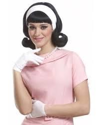 1950s headband 1950 s peggy sue flip up jackie o black wig w headband