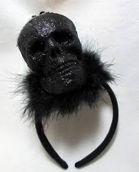 halloween headbands black glitter skull headband