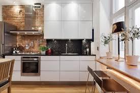 modern small kitchen with glossy gray cabinets also brick walls excellent modern brick kitchen design with all white cabinets also brick backsplash
