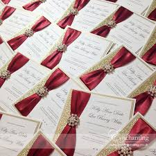 Red Wedding Invitations Gold Wedding Invitations With Glitter And Red Ribbon