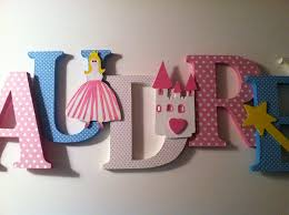 Letter Decorations For Nursery Wood Letter Wall Decor Princess Themed Wooden Letters