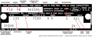 ford f150 transmission identification codes decoding 73 79 ford truck vin tags fordification