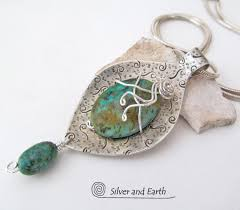 real turquoise stone necklace images Sterling silver pendant necklace with african turquoise stone jpg